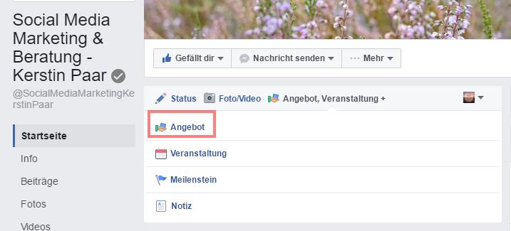 Facebook-Angebot-starten